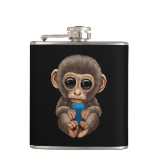 Cute Baby Monkey Holding a Cell Phone Black Flask