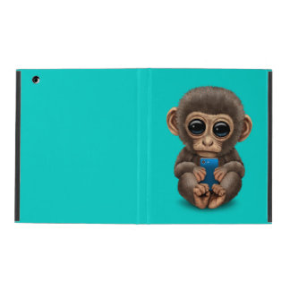 Cute Baby Monkey Holding a Cell Phone Blue iPad Cases