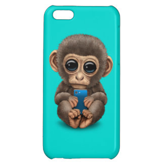Cute Baby Monkey Holding a Cell Phone Blue iPhone 5C Cover