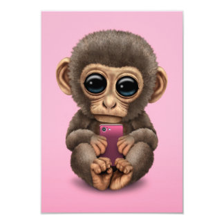 Cute Baby Monkey Holding a Cell Phone Pink Card