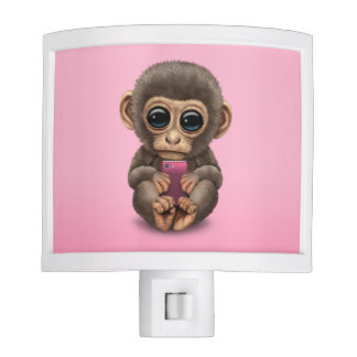 Cute Baby Monkey Holding a Cell Phone Pink Night Light