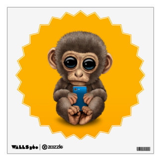 Cute Baby Monkey Holding a Cell Phone Yellow Wall Decal