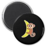 cute baby monkey on banana 2 inch round magnet