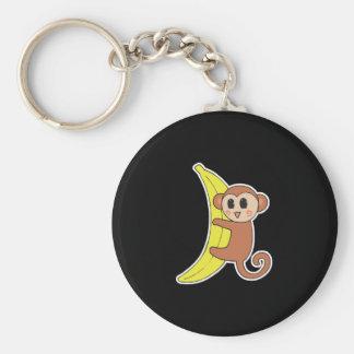 cute baby monkey on banana basic round button keychain