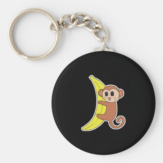 cute baby monkey on banana keychain
