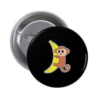 cute baby monkey on banana pinback button