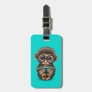 Cute Baby Monkey Reading a Book on Blue Bag Tag