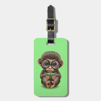 Cute Baby Monkey Reading a Book on Green Luggage Tag