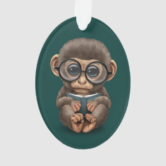 Cute Baby Monkey Reading a Book on Teal Blue Ornament