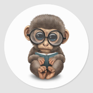 Cute Baby Monkey Reading a Book on White Classic Round Sticker