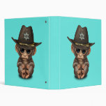 Cute Baby Monkey Sheriff 3 Ring Binder