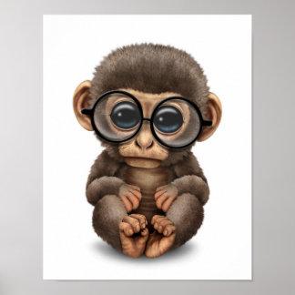 Cute Baby Monkey Wearing Eye Glasses White Print