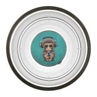 Cute Baby Monkey Wearing Headphones Blue Bowl