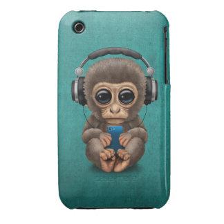 Cute Baby Monkey Wearing Headphones Blue iPhone 3 Case-Mate Case