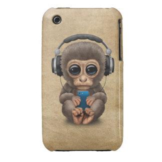 Cute Baby Monkey Wearing Headphones iPhone 3 Case
