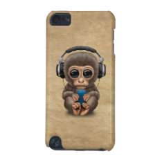 Cute Baby Monkey Wearing Headphones Ipod Touch (5th Generation) Case at Zazzle