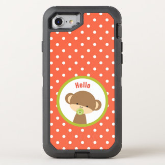 Cute Baby Monkey with a Pacifier on Polka Dots OtterBox Defender iPhone 8/7 Case