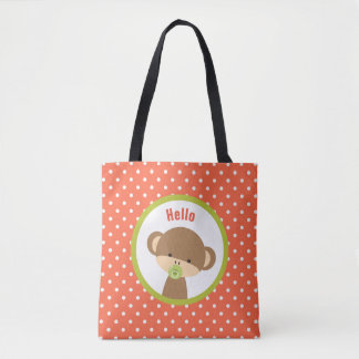 Cute Baby Monkey with a Pacifier on Polka Dots Tote Bag