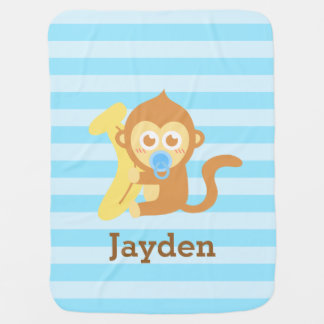 Cute Baby Monkey With Banana, For Babies Stroller Blanket