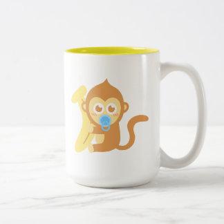 Cute Baby Monkey With Banana Mugs
