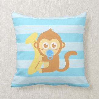 Cute Baby Monkey With Banana Throw Pillow