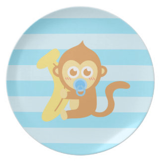 Cute Baby Monkey With Banana Party Plates