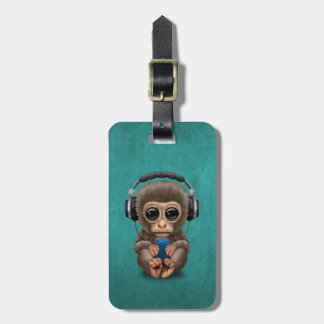 Cute Baby Monkey With Cell Phone Wearing Headphone Luggage Tag