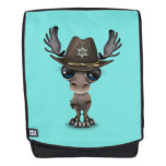 Cute Baby Moose Sheriff Backpack