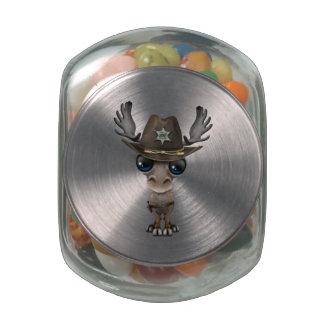 Cute Baby Moose Sheriff Glass Candy Jar