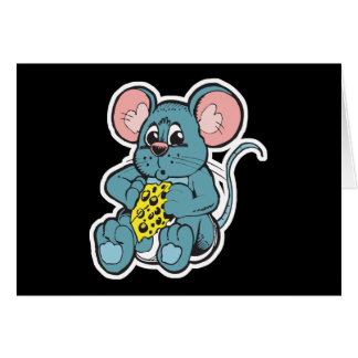cute baby mouse eating cheese card