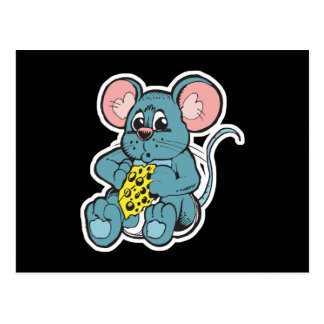 cute baby mouse eating cheese postcard