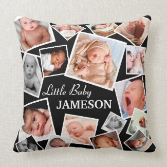 Cute Baby Name Photo Collage Throw Pillow