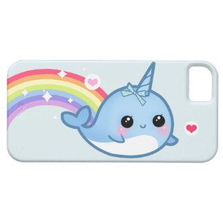 Cute baby narwhal and rainbow iPhone 5 cover