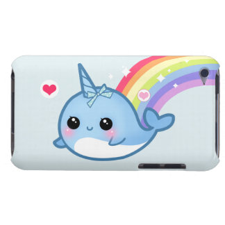 Cute baby narwhal and rainbow iPod touch case
