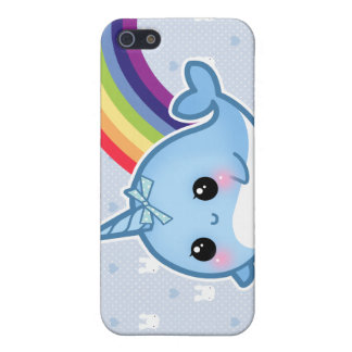 Cute baby narwhal and rainbow case for iPhone SE/5/5s