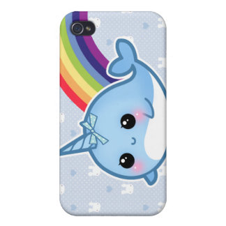 Cute baby narwhal and rainbow cover for iPhone 4
