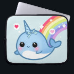 """Cute baby narwhal and rainbow laptop sleeve<br><div class=""""desc"""">Protect your laptop with this super cute and durable sleeve. There&#39;re 3 sizes available for you to choose.  This design features a kawaii baby narwhal with rainbow,  sparkle stars and hearts on baby blue background.</div>"""