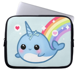 Cute baby narwhal and rainbow laptop sleeve