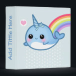 """Cute baby narwhal and rainbow - Personalized Binder<br><div class=""""desc"""">Type your name,  binder title or anything you want in the &quot;Personalize it&quot; area to change the text on the spine. This design features a kawaii baby narwhal with rainbow on baby blue background.</div>"""