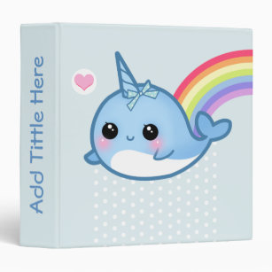 Attractive Cute Baby Narwhal And Rainbow   Personalized Binder