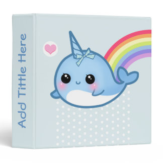 Cute baby narwhal and rainbow - Personalized Binder