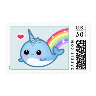 Cute baby narwhal and rainbow postage