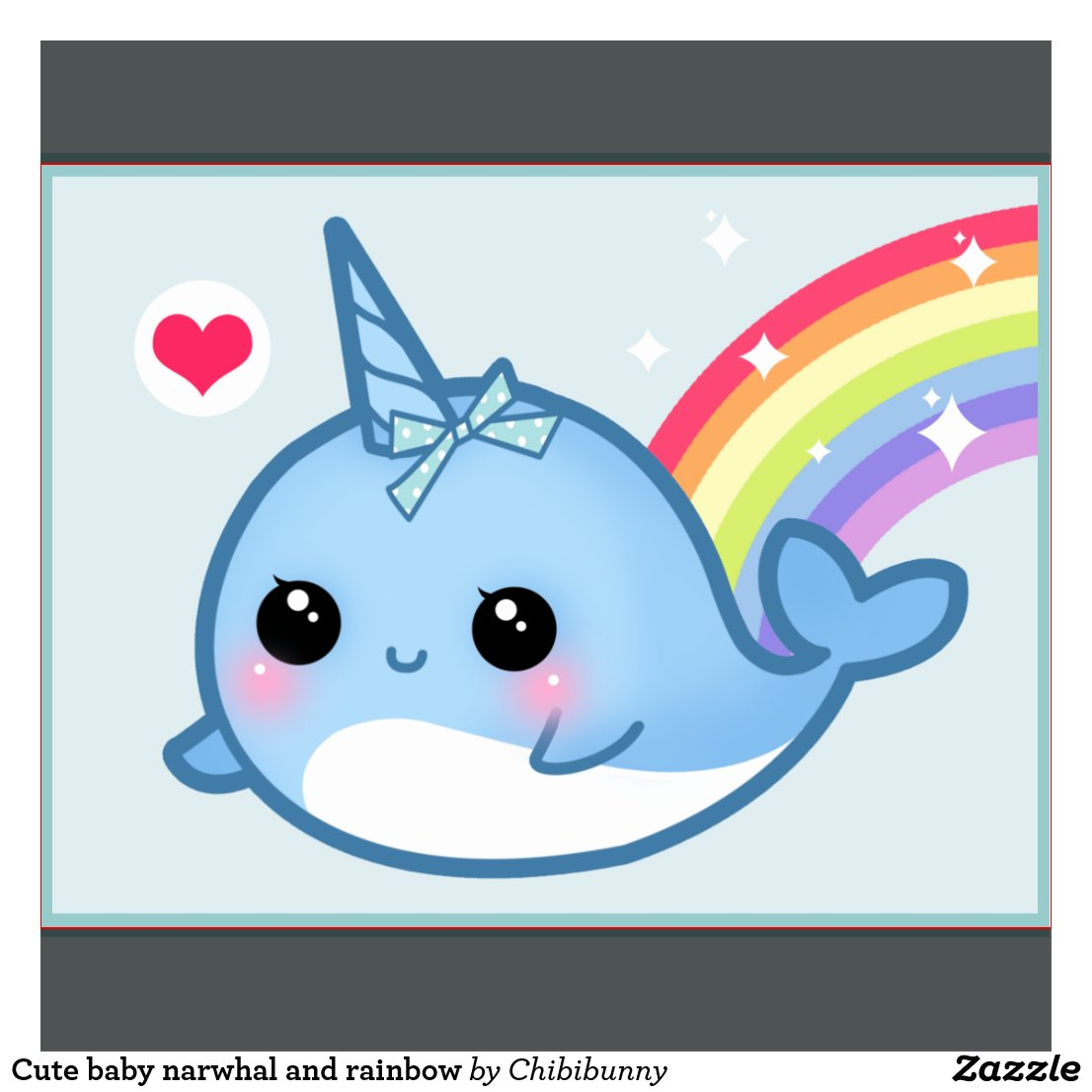 Rainbow Animated Narwhals Narwhal Cartoon Rainbo...