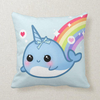 Cute baby narwhal and rainbow throw pillow