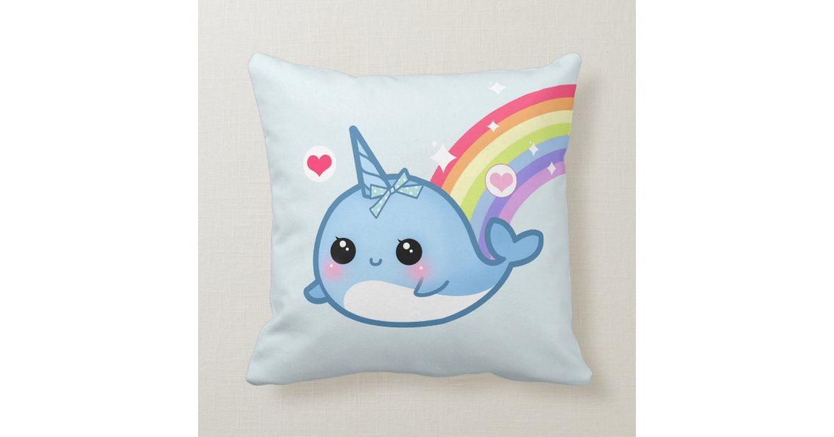 Cute Baby Narwhal And Rainbow Throw Pillow Zazzle Com