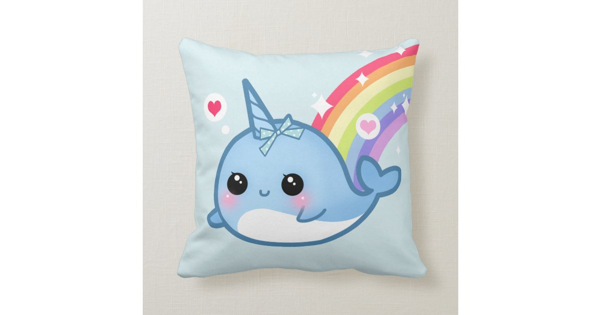 Cute Pillows And Blankets : Cute baby narwhal and rainbow throw pillows Zazzle