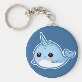 Cute baby narwhal basic round button keychain