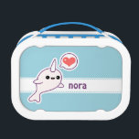 """Cute Baby Narwhal Lunch Box<br><div class=""""desc"""">Super cute pink baby albino narwhal with love heart. Personalize with your name.</div>"""