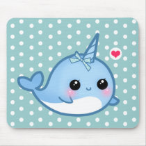 Cute baby narwhal mouse pad