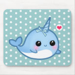Cute baby narwhal mouse pads